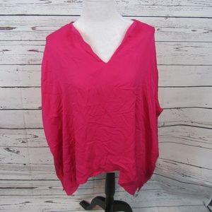 Diane von Furstenberg magenta silk v-neck blouse